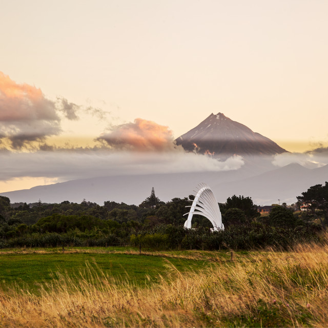 """Te Rewa Rewa Bridge with Mount Taranaki New Plymouth"" stock image"