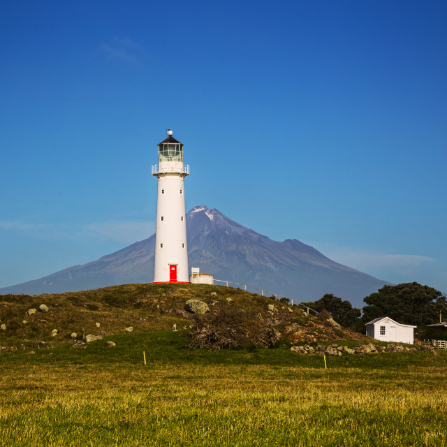 """Cape Egmont Lighthouse, Taranaki NZ"" stock image"