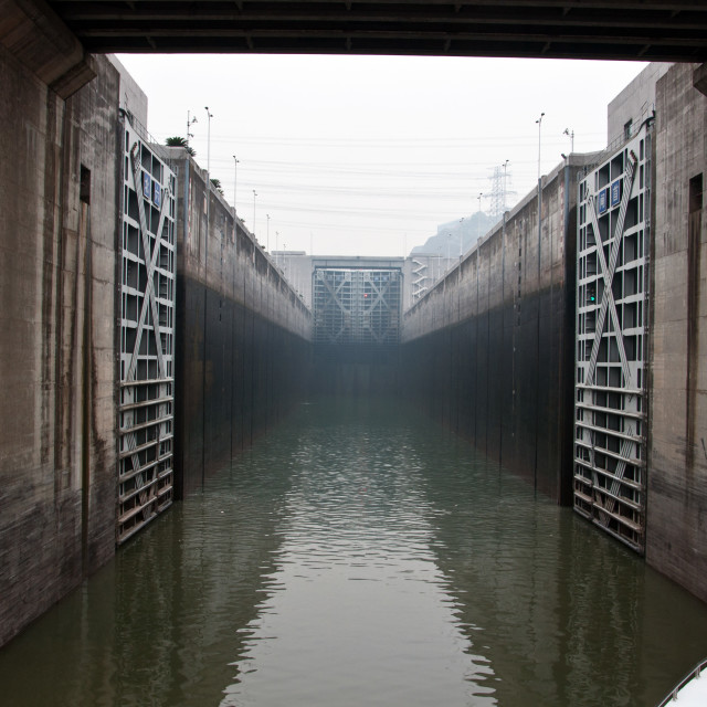 """entering a loch on the Three Gorges Dam"" stock image"