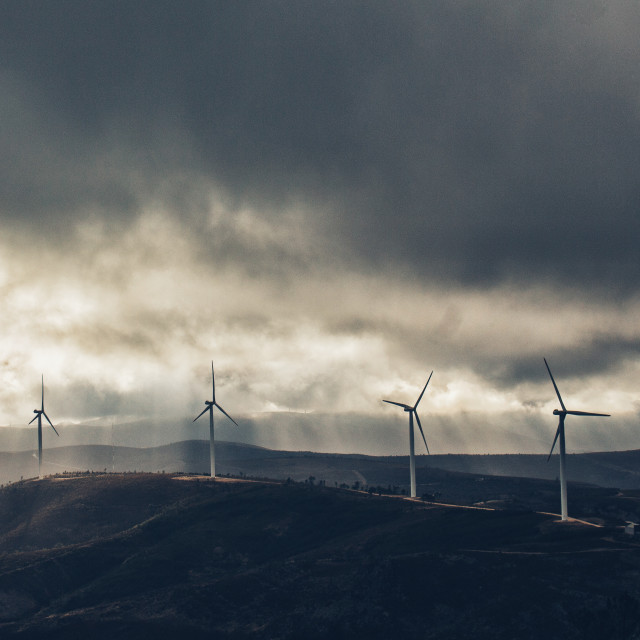 """""""String Of Windmills"""" stock image"""