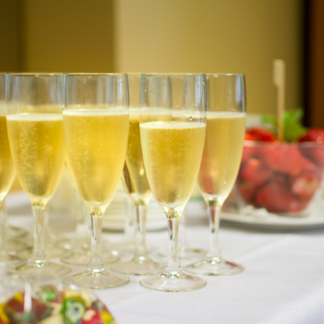 """""""Champagne and strawberries at the reception"""" stock image"""