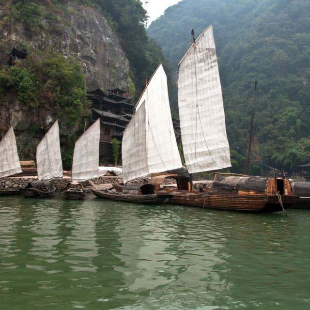 """Chinese sailing boats"" stock image"