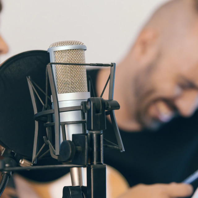 """Couple of singers composing a song."" stock image"