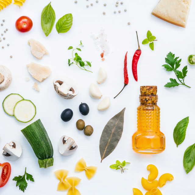 """""""Italian food concept .Various kind of pasta with ingredients sweet basil..."""" stock image"""