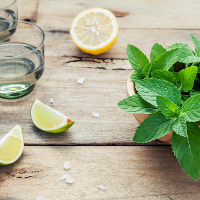 """""""Ingredients for making mojitos mint leaves, lime,lemon and vodka on shabby..."""" stock image"""