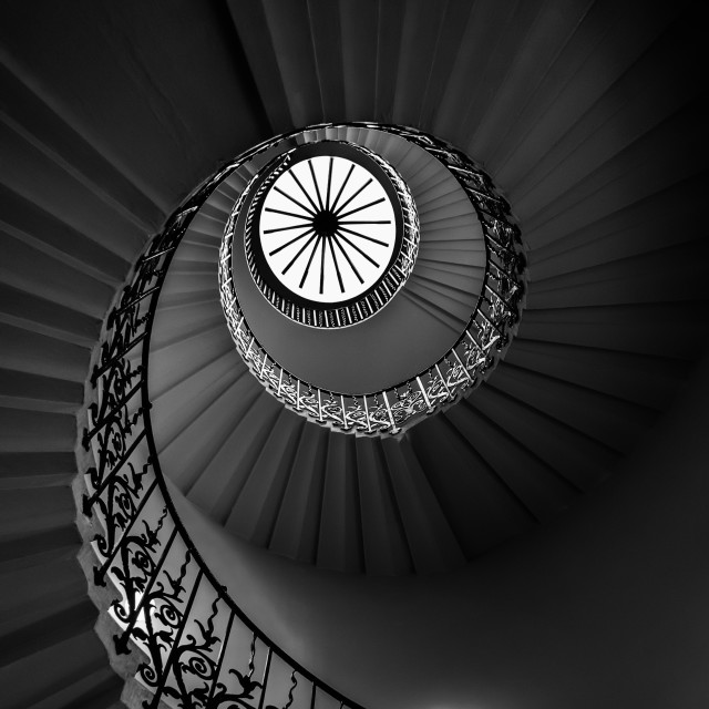 """The Tulip Spiral Stairs - Dark"" stock image"