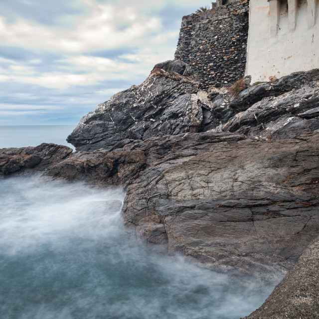 """Camogli, the sea rocks. Color image"" stock image"