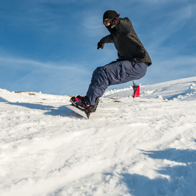 """""""Snowboard freerider in the mountains"""" stock image"""