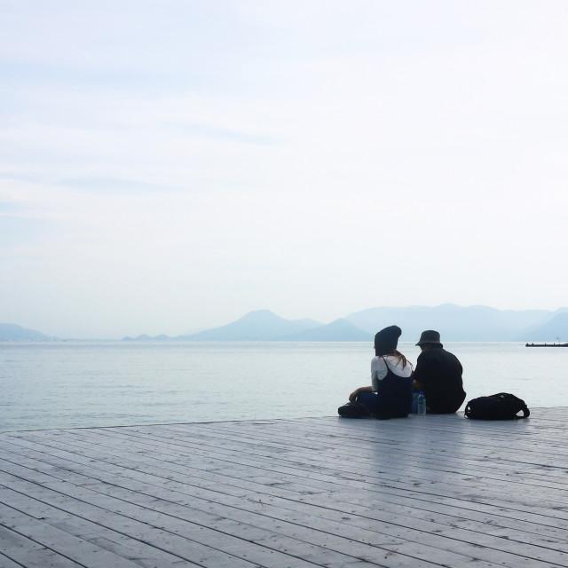 """""""Couple, Naoshima at dusk"""" stock image"""