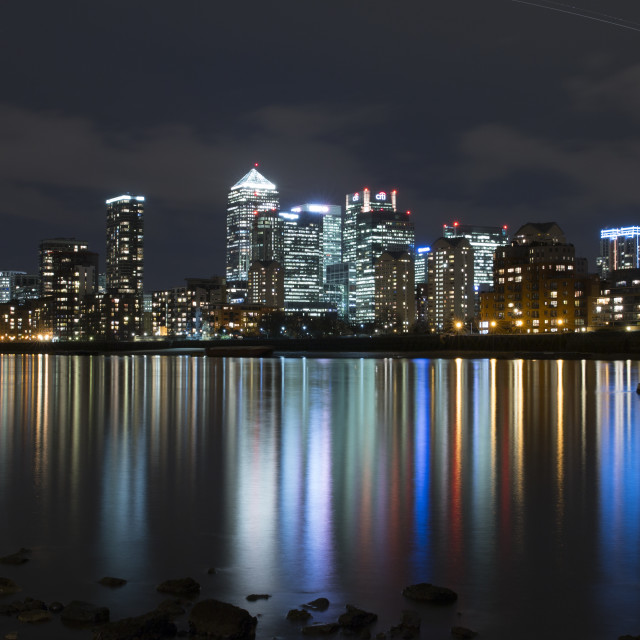 """The Isle of Dogs at Night"" stock image"