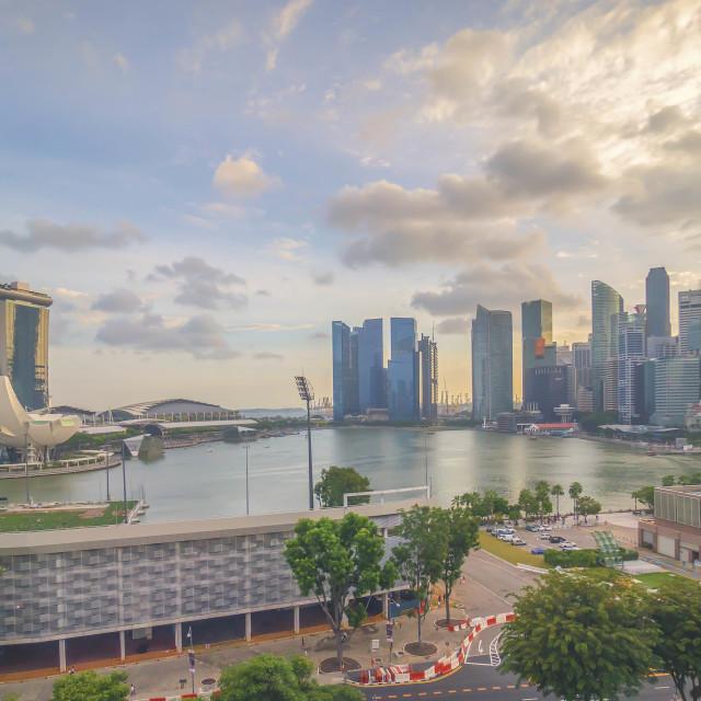 """""""Singapore landmark city skyline at the Marina bay during sunset"""" stock image"""