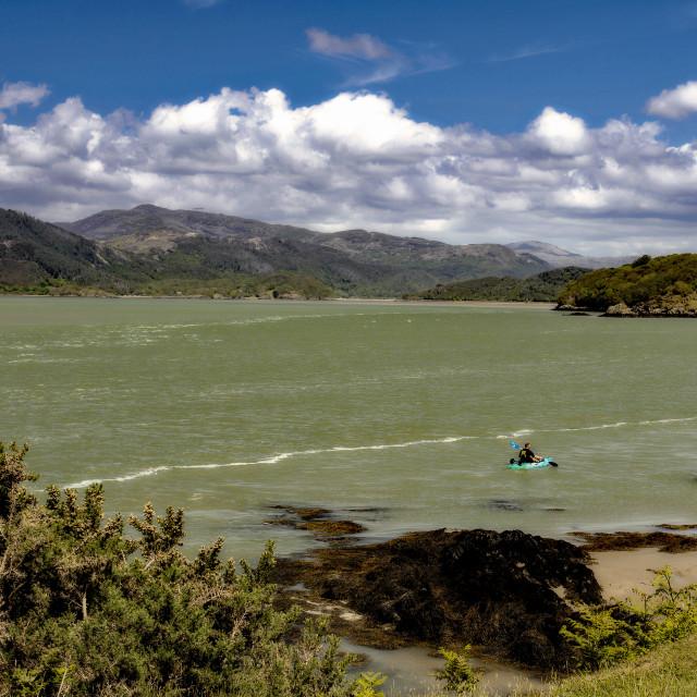 """Kayaker on the Afon Mawddach"" stock image"