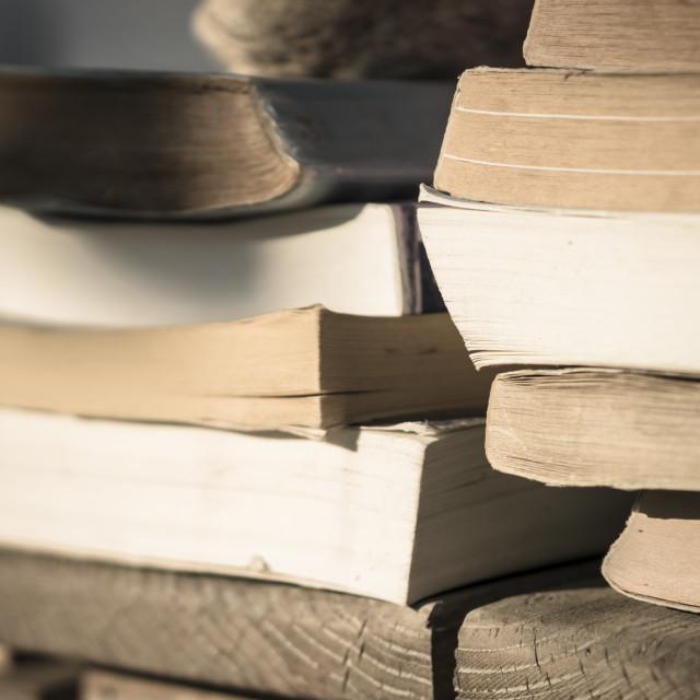 """Books on the beach 2"" stock image"