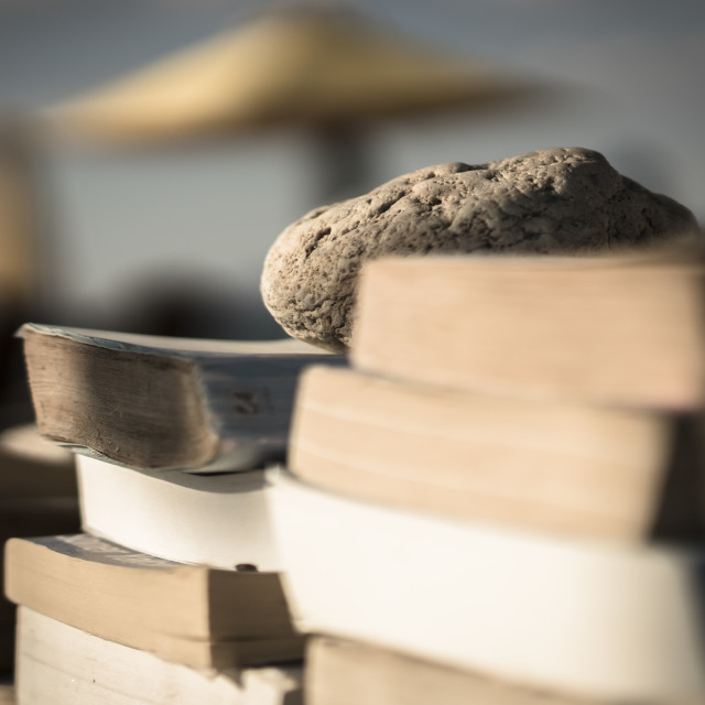 """Books on the beach 5"" stock image"