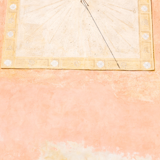 """in italy sundial and antique wall"" stock image"