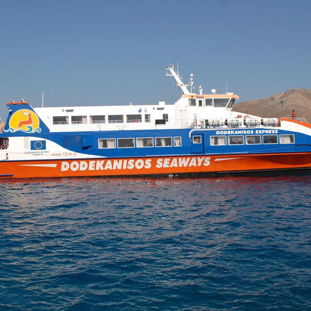 """Catamaran ferry, Tilos"" stock image"