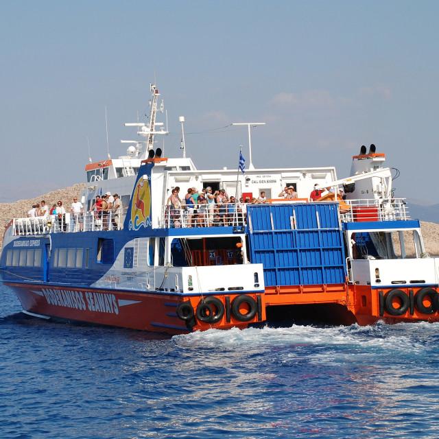 """""""Ferry boat, Halki island"""" stock image"""