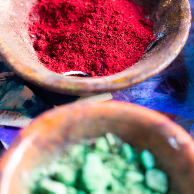 """""""Colourful pigment powders in clay pots"""" stock image"""