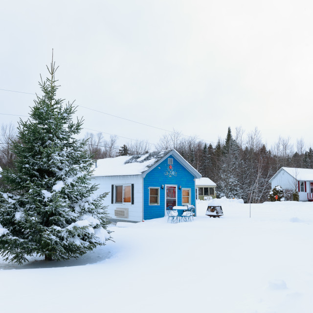 """Snow covered blue house"" stock image"