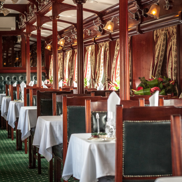 """Dining car Rovos Luxury train in Africa"" stock image"