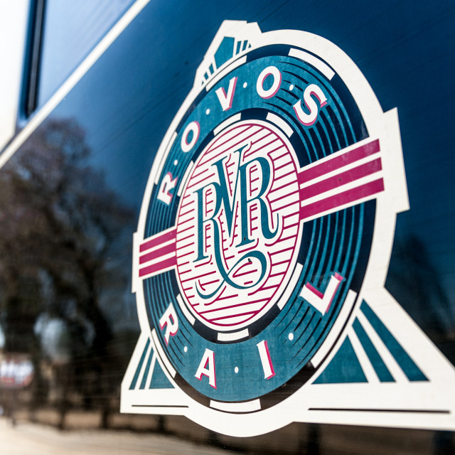 """Rovos Rail logo on steam engine"" stock image"