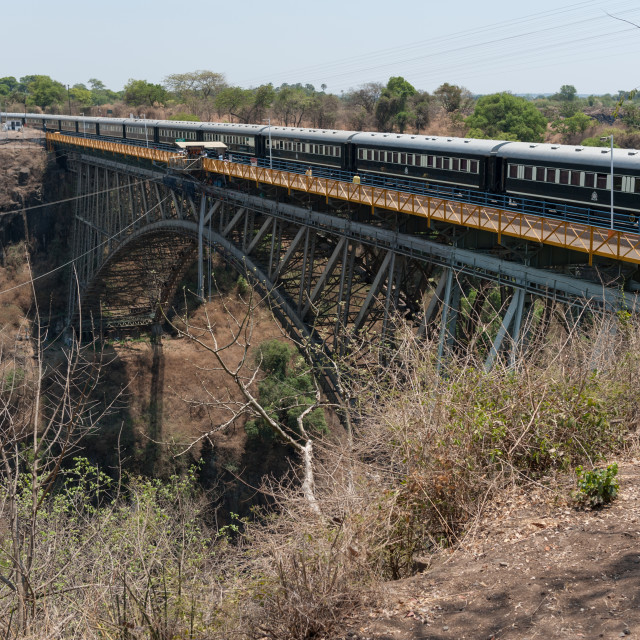 """Pride of Africa Luxury Train on Victoria Falls Bridge"" stock image"
