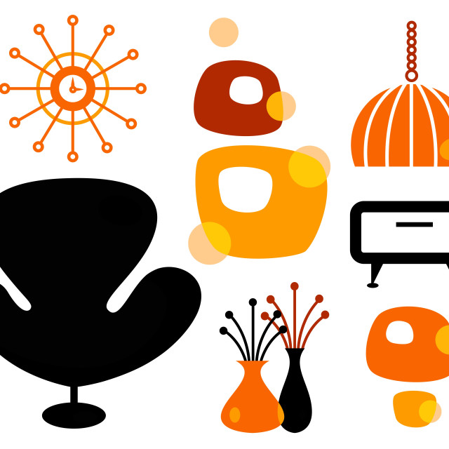 """Black and orange 60s furniture collection"" stock image"