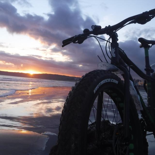 """Bike on the beach"" stock image"