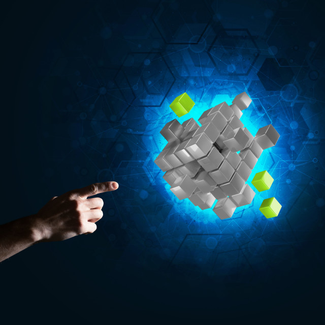 """Idea of new technologies and integration presented by cube figure"" stock image"