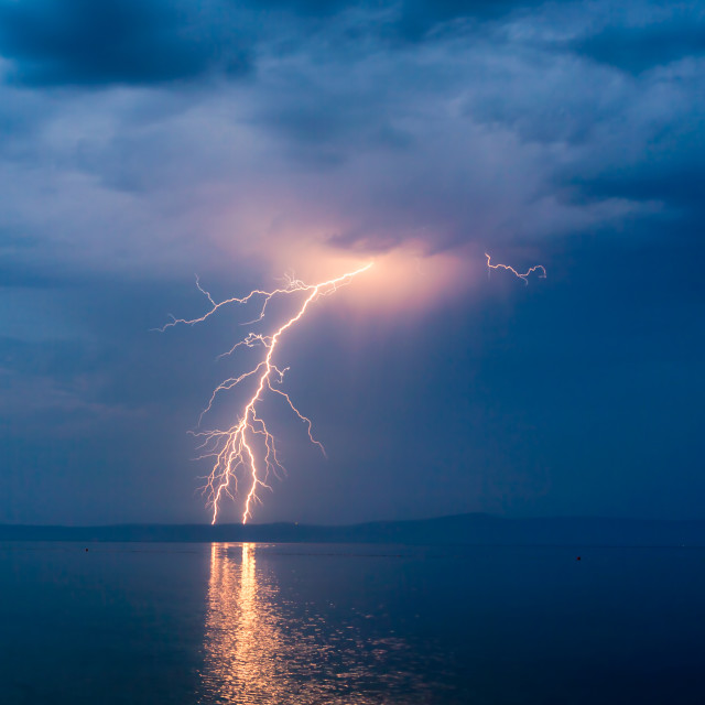"""Lightning Strike over Hvar Island in Croatia"" stock image"