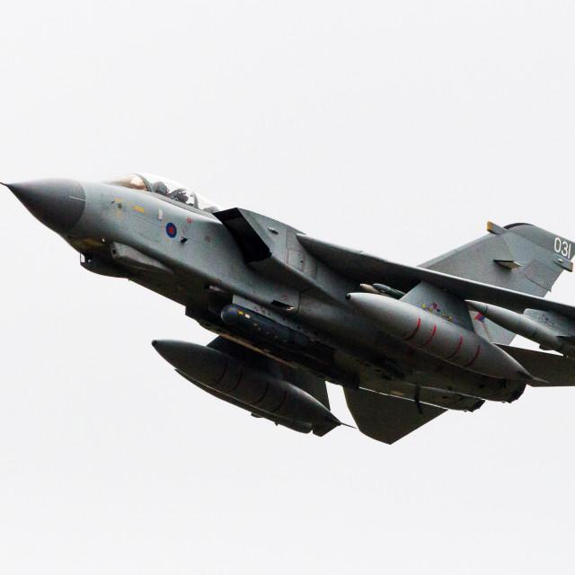 """Tornado GR.4 overflys RAF Marham."" stock image"