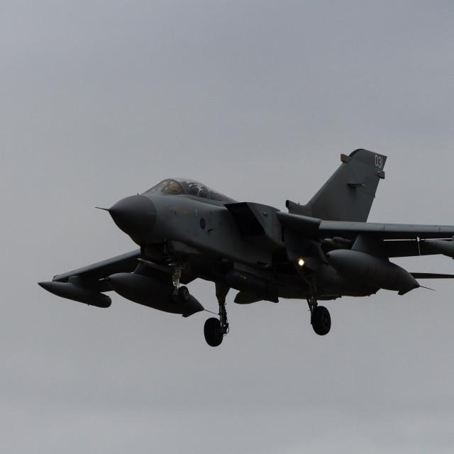 """""""Tornado GR.4 on finals at RAF Marham."""" stock image"""