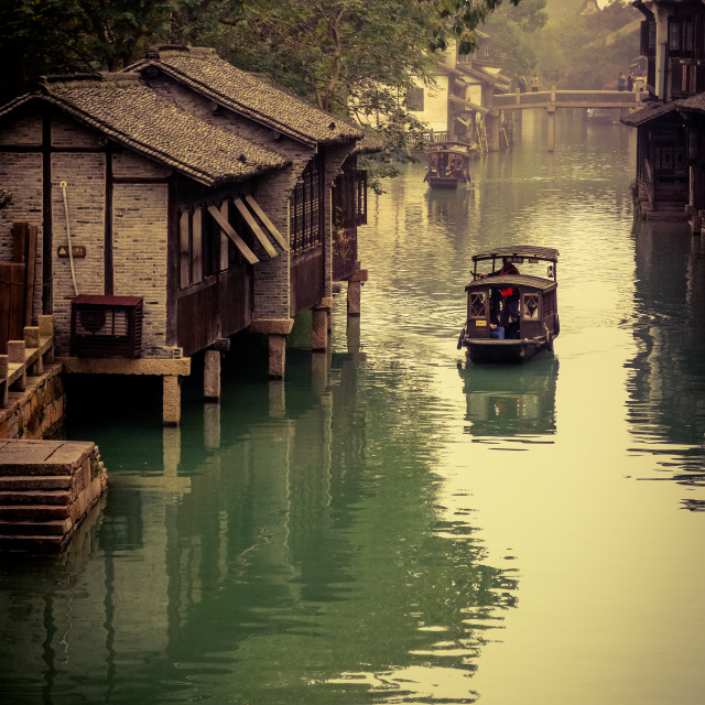 """""""Boat in canal in ancient China"""" stock image"""