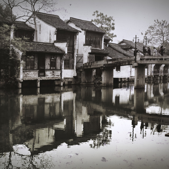 """""""Ancient Chinese town reflected in water"""" stock image"""
