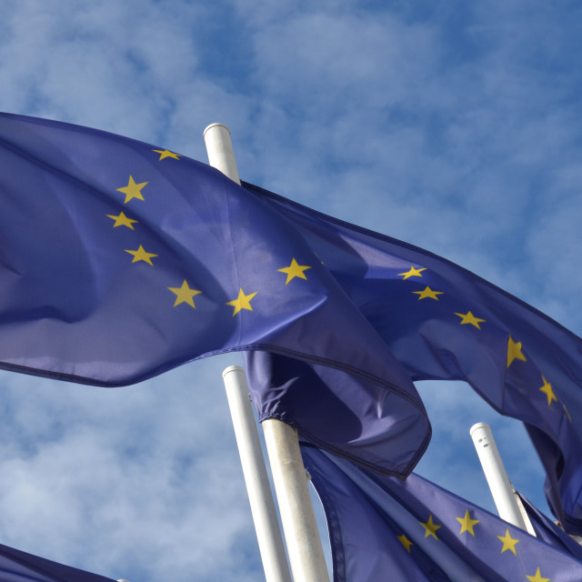 """European Flag Flying"" stock image"