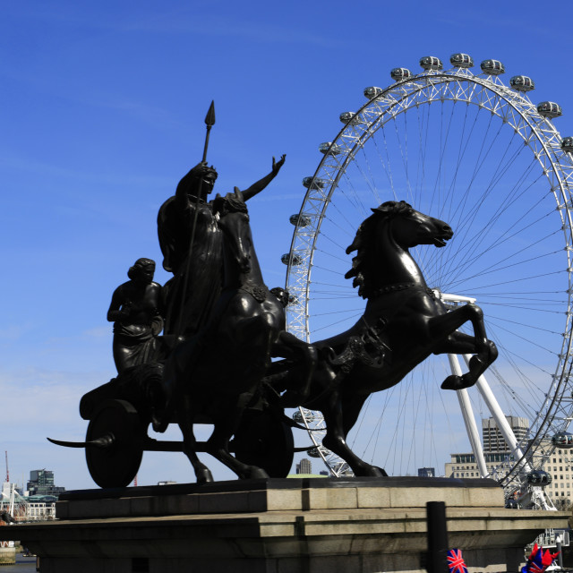 """""""Statue of Queen Boadicea with spear and chariot, Westminster bridge, London..."""" stock image"""