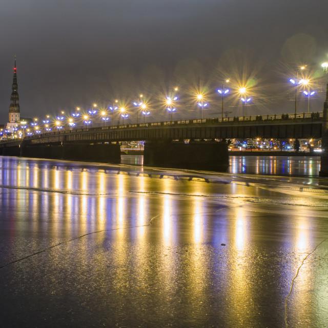 """""""Illuminated Daugava In Riga"""" stock image"""