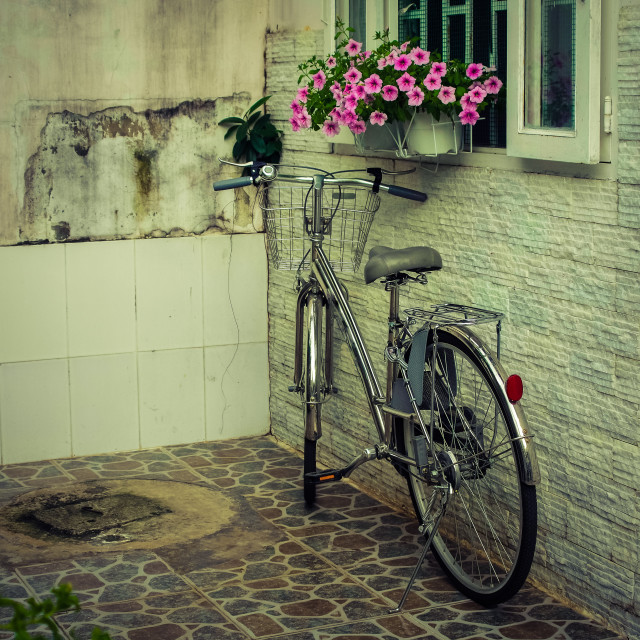 """Old bicycle under window in yard"" stock image"