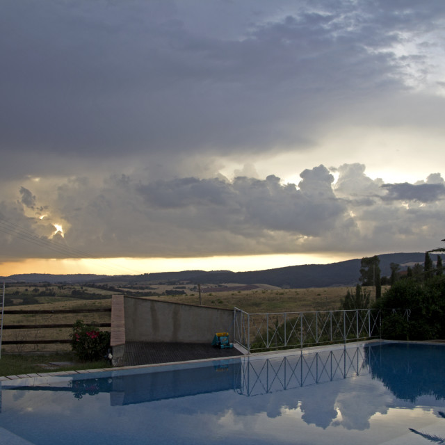 """Tuscany scenery, from the edge of the pool"" stock image"