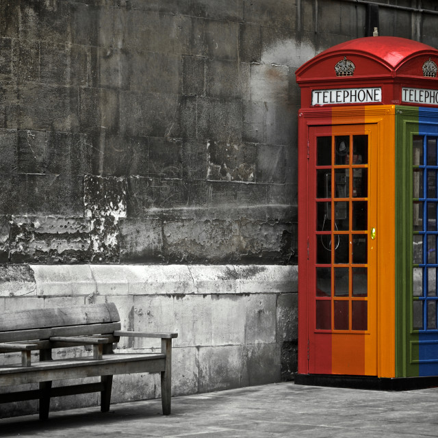 """Gay painted British phone booth in London, United Kingdom"" stock image"