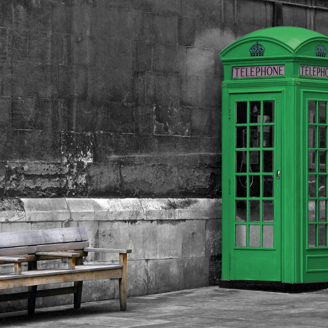 """Green painted British phone booth in London, United Kingdom"" stock image"