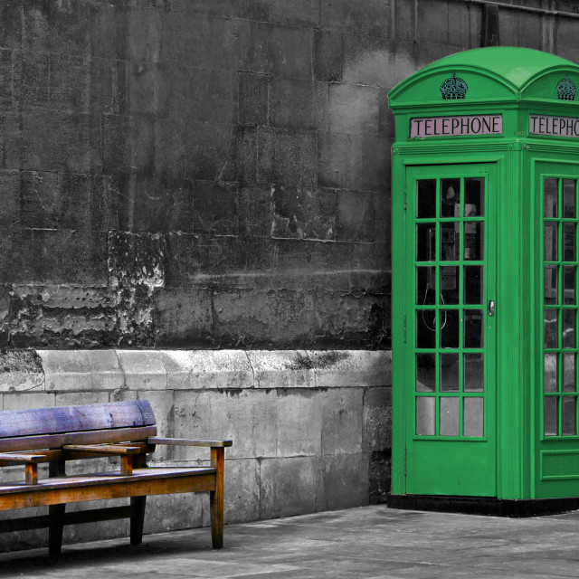 """Green eco painted British phone booth in London, United Kingdom"" stock image"