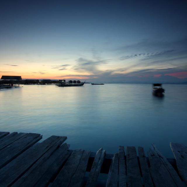 """Sunset in Mabul Island Semporna Sabah"" stock image"