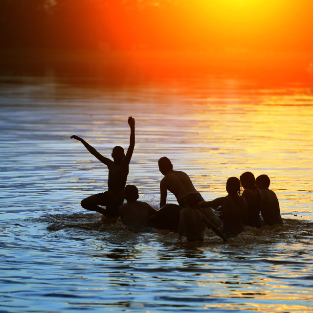 """""""A carefree holiday on the water."""" stock image"""