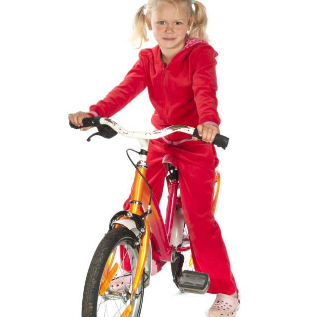 """""""Little child with bike"""" stock image"""