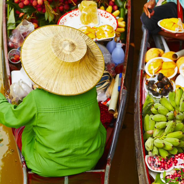 """Traditional floating market"" stock image"