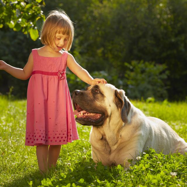 """Girl with dog"" stock image"