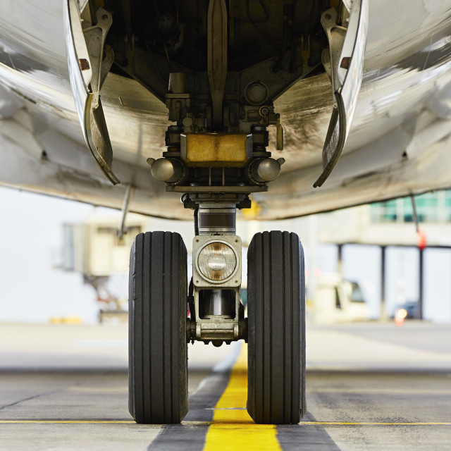"""""""Wheels of the airplane"""" stock image"""