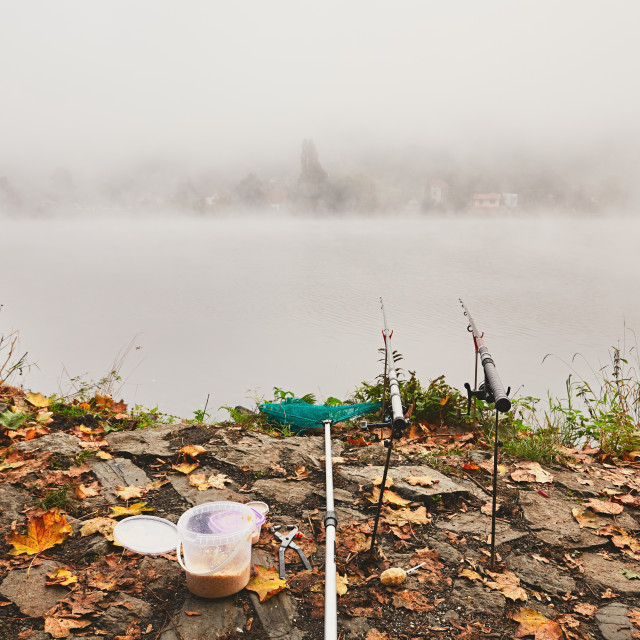 """Fishing in the mysterious fog"" stock image"
