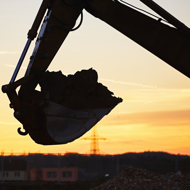 """""""Building site at the sunset"""" stock image"""